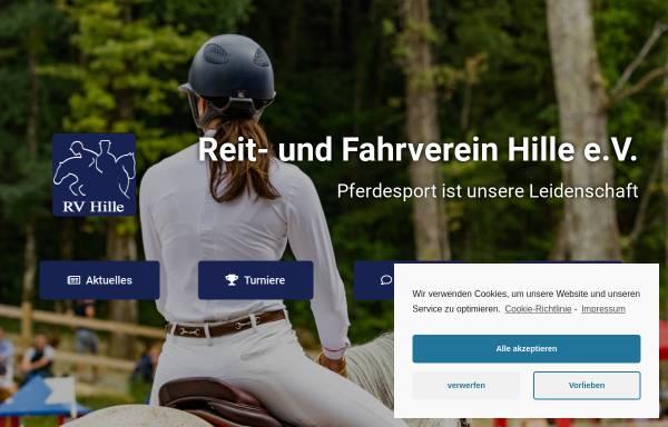 Vorschau von www.rv-hille.de, Reit- und Fahrverein Hille e.V.