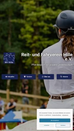 Vorschau der mobilen Webseite www.rv-hille.de, Reit- und Fahrverein Hille e.V.