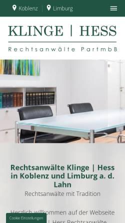 Vorschau der mobilen Webseite www.klinge-hess.de, Rechtsanwälte Klinge Hess
