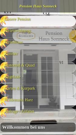 Vorschau der mobilen Webseite www.sonneck.harz.de, Wellness-Pension Sonneck