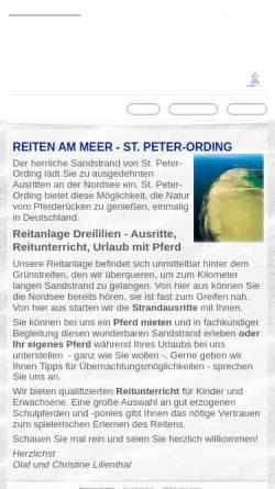 Vorschau der mobilen Webseite www.reiten-am-meer.de, Reitanlage Dreililien, Inhaber Olaf Lilienthal