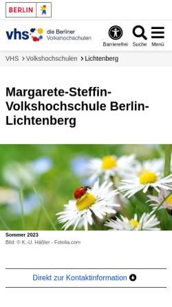 Vorschau der mobilen Webseite www.berlin.de, Volkshochschule Berlin-Lichtenberg