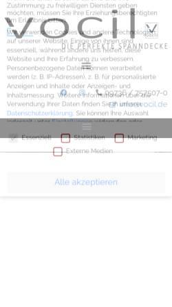 Vorschau der mobilen Webseite www.vocil.de, VOCIL German Stretch Ceiling GmbH