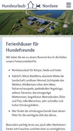 Vorschau der mobilen Webseite www.hundeurlaub-und-nordsee.de, Hundeurlaub und Nordsee