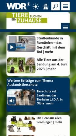 Vorschau der mobilen Webseite www.wdr.de, Tiere suchen ein Zuhause