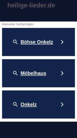 Vorschau der mobilen Webseite www.heilige-lieder.de, Böhse Onkelz Fanseite - heilige-lieder.de