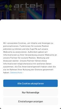 Vorschau der mobilen Webseite www.artek-ka.de, Artek Messebau