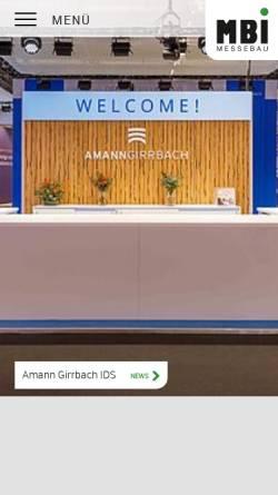 Vorschau der mobilen Webseite www.mbi-messebau.de, MBI - Messebau GmbH
