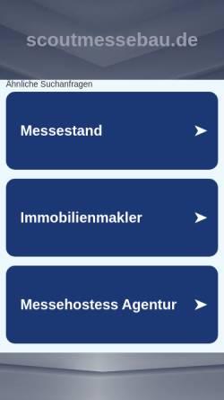 Vorschau der mobilen Webseite www.scoutmessebau.de, Scout Messe- und Ladenbau GmbH