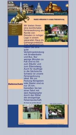 Vorschau der mobilen Webseite www.zum-elberadweg.de, Ferienwohnung Haufe