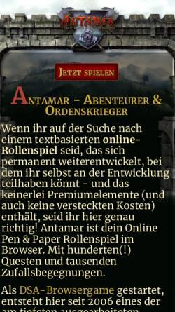 Vorschau der mobilen Webseite www.antamar.org, Antamar - Abenteurer und Ordenskrieger