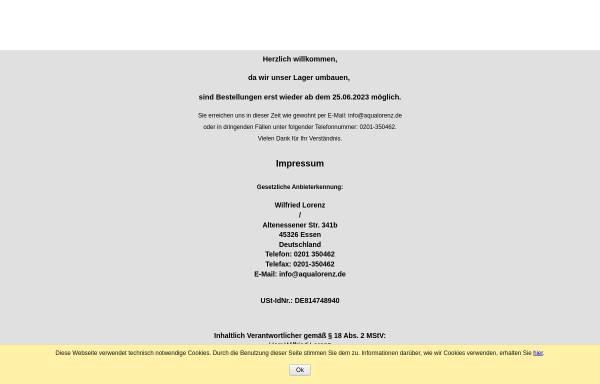 Vorschau von www.aqua-lorenz.de, Aqua Lorenz, Wilfried Lorenz