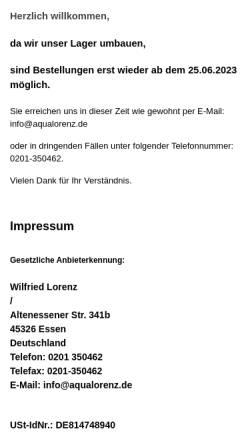 Vorschau der mobilen Webseite www.aqua-lorenz.de, Aqua Lorenz, Wilfried Lorenz