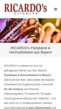 Vorschau der mobilen Webseite www.ricardos-band.de, Ricardo's Band