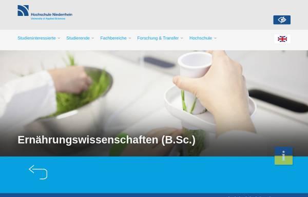 Vorschau von www.hs-niederrhein.de, Bachelor Oecotrophologie an der Hochschule Niederrhein