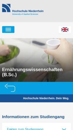 Vorschau der mobilen Webseite www.hs-niederrhein.de, Bachelor Oecotrophologie an der Hochschule Niederrhein