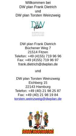 Vorschau der mobilen Webseite dwplan.de, DW plan GbR Frank Dietrich, Torsten Weinzweig