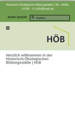 Vorschau der mobilen Webseite www.hoeb.de, Historisch-ökologische Bildungsstätte in Papenburg