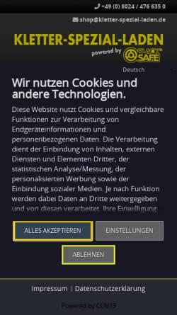 Vorschau der mobilen Webseite www.kletter-spezial-laden.de, Blacksafe GmbH