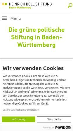 Vorschau der mobilen Webseite www.boell-bw.de, Heinrich Böll Stiftung Baden-Württemberg