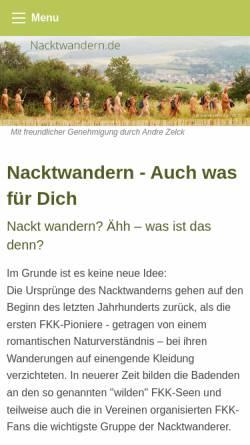 Vorschau der mobilen Webseite www.nacktwandern.de, Nacktwandern.de