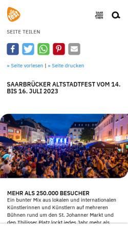 Vorschau der mobilen Webseite www.altstadtfest-saarbruecken.de, Altstadtfest