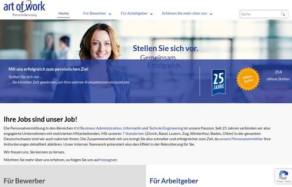 Vorschau von www.art-of-work.ch, Art of Work Personalberatung AG
