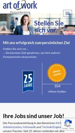 Vorschau der mobilen Webseite www.art-of-work.ch, Art of Work Personalberatung AG
