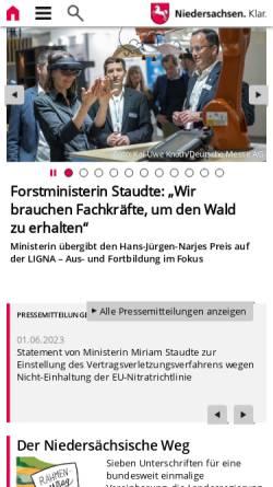 Vorschau der mobilen Webseite www.ml.niedersachsen.de, Niedersächsisches Ministerium für Ernährung, Landwirtschaft, Verbraucherschutz und Landesentwicklung