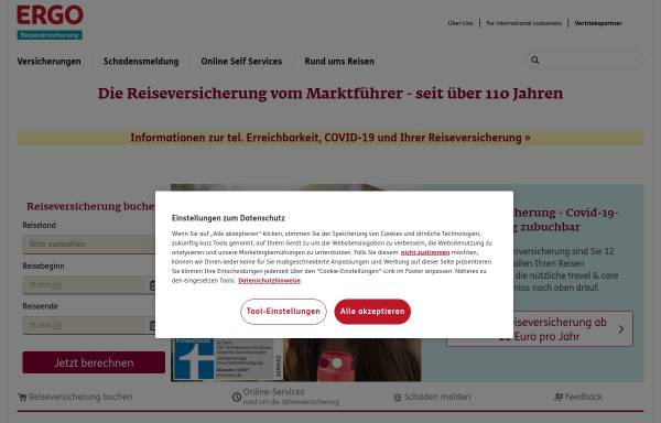 Vorschau von www.ergo-reiseversicherung.de, Europäische Reiseversicherung AG