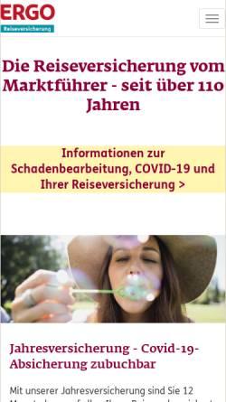 Vorschau der mobilen Webseite www.ergo-reiseversicherung.de, Europäische Reiseversicherung AG
