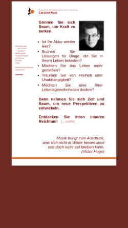 Vorschau der mobilen Webseite www.musiktherapie-osnabrueck.de, Praxis für Musiktherapie und Coaching Carsten Rust