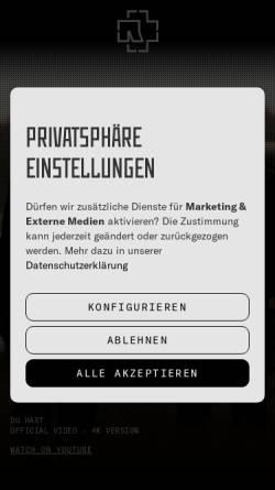 Vorschau der mobilen Webseite www.rammstein.de, Rammstein