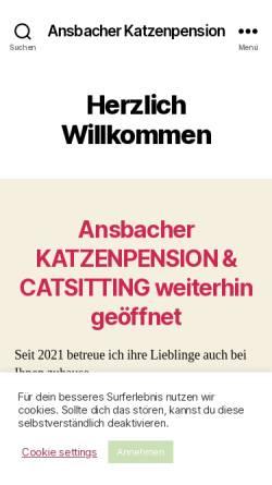 Vorschau der mobilen Webseite katzenpension24.com, Ansbacher Katzenpension, Catsitting Ansbach