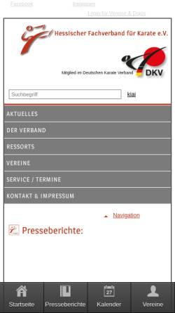 Vorschau der mobilen Webseite www.karate-hessen.de, Hessischer Fachverband für Karate e. V.