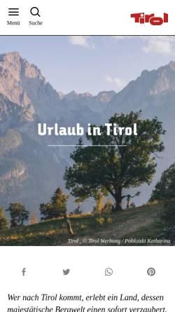 Vorschau der mobilen Webseite www.tirol.at, Tirol.at