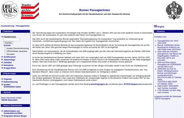 Passagierlisten Auswanderer