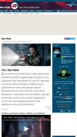 Vorschau der mobilen Webseite www.4players.de, Alan Wake bei 4players.de
