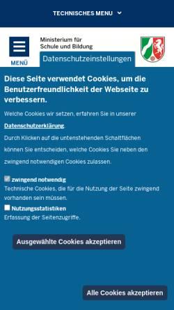 Vorschau der mobilen Webseite www.schulministerium.nrw.de, Ministerium für Schule und Weiterbildung des Landes Nordrhein-Westfalen (MSW NRW)