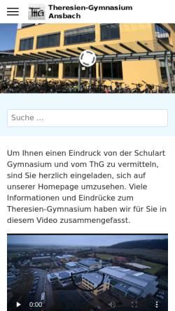 Vorschau der mobilen Webseite www.thg-ansbach.de, Theresien-Gymnasium Ansbach