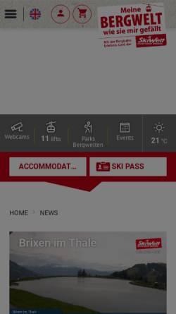 Vorschau der mobilen Webseite www.skiwelt.at, Bergbahnen Wilder Kaiser - Brixental