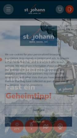 Vorschau der mobilen Webseite www.bergbahnen-stjohann.at, St. Johann in Tirol
