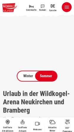 Vorschau der mobilen Webseite wildkogel-arena.at, Wildkogelbahnen