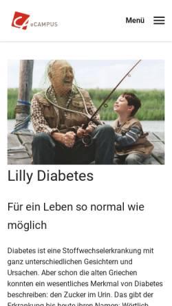 Vorschau der mobilen Webseite www.lilly-diabetes.de, Lilly Diabetes