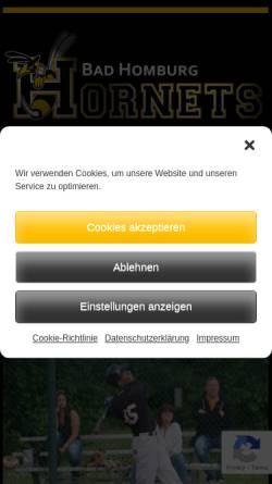 Vorschau der mobilen Webseite www.hornets-baseball.de, Bad Homburg Hornets e.V.