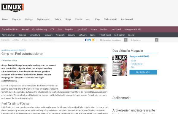 Vorschau von www.linux-magazin.de, Gimp mit Perl automatisieren
