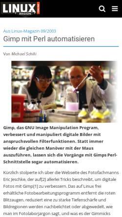 Vorschau der mobilen Webseite www.linux-magazin.de, Gimp mit Perl automatisieren