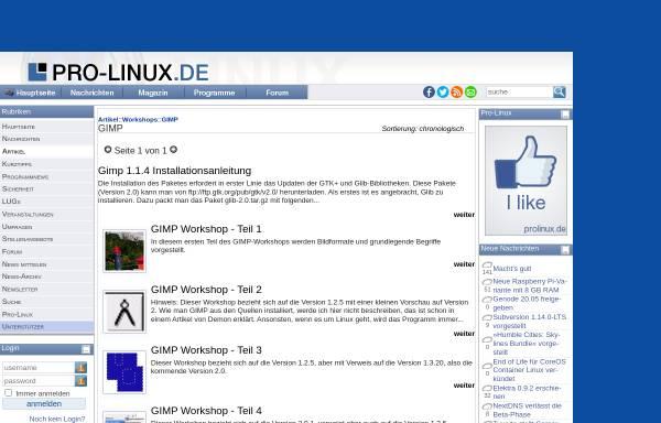 Vorschau von www.pro-linux.de, GIMP Workshop
