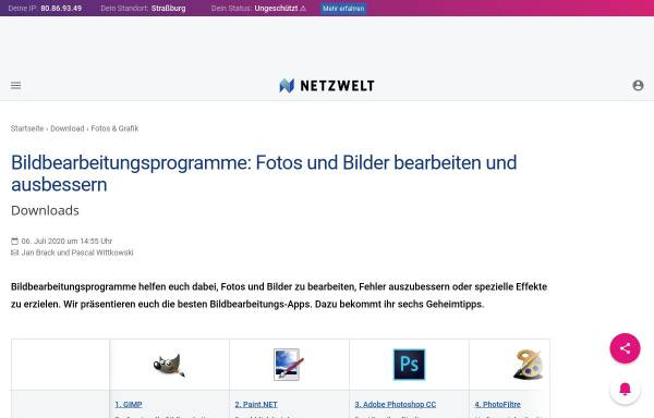 Vorschau von www.netzwelt.de, Netzwelt - Gimpshop Anleitungen und Downloads