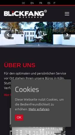 Vorschau der mobilen Webseite www.blickfang.de, Blickfang Messebau GmbH